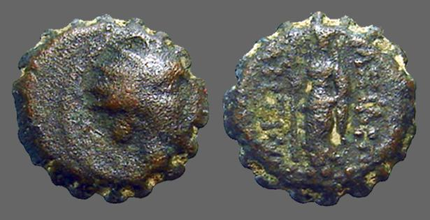 Ancient Coins - Antiochus IV Ake-Ptolemais,  AE13 radiate head of Antiochos IV / Hera w. scepter
