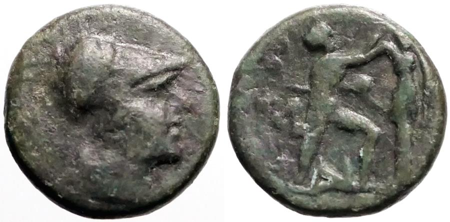 Ancient Coins - Kings of Macedon, Antigonos II Gonatas AE17 Athena / Pan erecting trophy