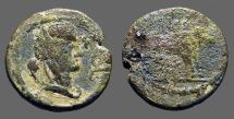 Ancient Coins - Autonomous AE18 Veiled Tyche / Founder plowing w. oxen