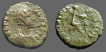 Ancient Coins - Aelia Flaccilla AE4 Salvs Reipvblice, Victory seated right, inscribing shield   S#4194