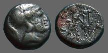 Ancient Coins - Macedonian Kings,Antigonos II Gonatas AE15 / Athena / Pan erecting trophy.