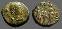 Ancient Coins - Arcadius AE4 Honorius, Arcadius, Theodosius II stg side by side. Antioch, Turkey.