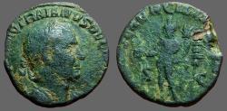 Ancient Coins - Trajan Decius AE26 Sestertius.  Genius cornucopia, military standard