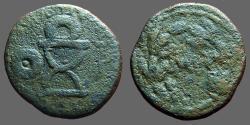 Ancient Coins - Sauromates I AE25 Curule chair w. wreath, / MH in wreath