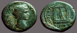 Ancient Coins - Trajan AE19 Lydia.  statue of Artemis in temple, drawing arrow