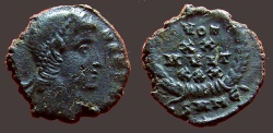 Ancient Coins - Constans as Augustus AE4 Vows in wreath.  heraclea?