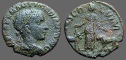 Ancient Coins - Gordian III AE18 Moesia stg between legionairy Bull & Lion.  Viminacium