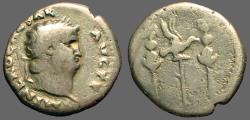 Ancient Coins - Nero AR Denarius  Legionary eagle between standards
