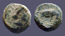 Ancient Coins - Antiochos III AE8 Hd of Apollo rt. / Elephant stg. rt  SNG Spaer 615.  223-187 BC.