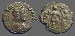 Ancient Coins - Arcadius AE3 (18mm) Victory holds wreath over Arcadius. Constantople