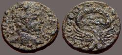 Ancient Coins - Severus Alexander AE20 Eagle supports wreath w. SC in it.  Samaria, Caesarea