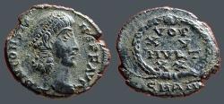 Ancient Coins - Constans AE4, Vows in wreath, VOT/XV/MVLT/X X   Antioch Turkey.