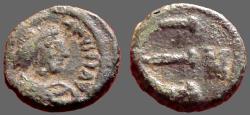 Ancient Coins - Justininian I AE12 Pentanummium.  E w. N officiana