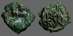Ancient Coins - Heraclius AE22 Follis. countermark of Heraclius & son / Monogram mark   Sicily.