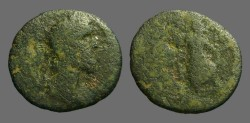 Ancient Coins - Pius AE25, Ascalon, Tyche-Astarte stg. on galley.