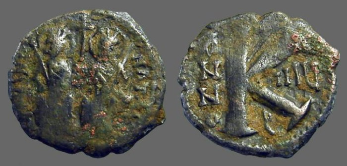 Ancient Coins - Justin II & Sophia 1/2 Follis, Antioch.  year 8.