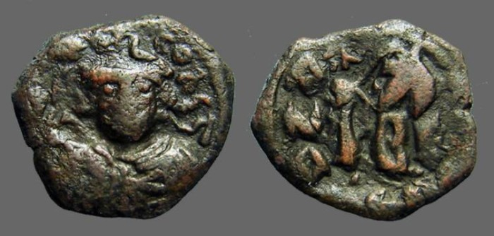Ancient Coins - Constans II AE follis, restruck on earlier flan, SB#1004