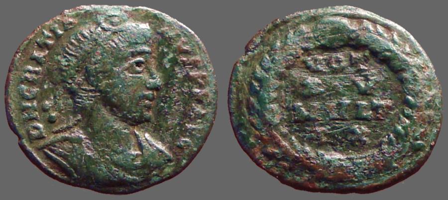 Ancient Coins - Gratian AE4 Vows in wreath, VOT/XV/MVLT/X X