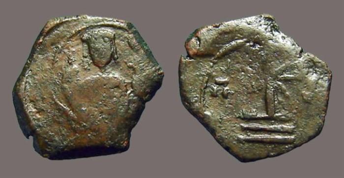 Ancient Coins - Manuel I, Comnenus: AE tetarteron, emperor facing / Cross with X at center