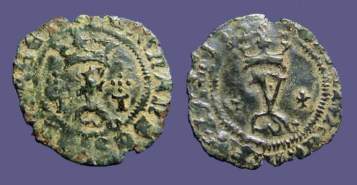 World Coins - Fernando V & Isabella, 18mm billon Blanca. 1474-1504 AD.
