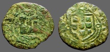 World Coins - Portugal, Alfonso V AE18 Ceitil. Castle, waves below / Coat of Arms.