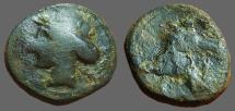 Ancient Coins - Carthage AE21, Bust of Tanit / Horse head rt.