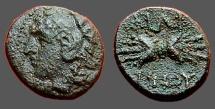 Ancient Coins - Philip V King of Macedon AE11  Hd of Herakles, w. lion's skin headdress / Thunderbolt