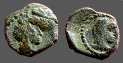 Ancient Coins - Nabataean Aretas IV & Shuqailat AE10  Petra.   Bust of King / Bust of veiled Queen