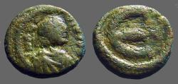 Ancient Coins - Justinian I AE pentanummium. Large 'E' w. cross at right.  Constantinople. SB#170A.