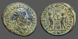 Ancient Coins - Maximianus AE antoninianus.  receives Victory from Jupiter.