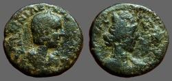 Ancient Coins - Herennia Etruscilla AE19  Judaea, Caesarea Maratima.  Turreted Tyche