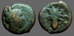 Ancient Coins - Sicily, Syracuse AE16 Triens Arethusa / Octopus w. 3 value marks