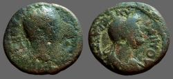 Ancient Coins - Domitian & Domitia AE18 Thessalian League
