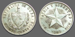 World Coins - Cuba AR23 Silver 20 Cent coin Coat of arms / 5 pointed star 1949