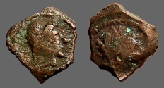 Ancient Coins - Ptolemy V AE12 Hd. of Ptolemy I / Hd. of Libya. Kyrene Mint.