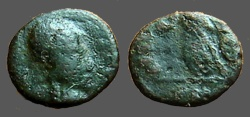 Ancient Coins - Late Roman AE4 (10mm) odd bust rt / Victory adv. left w. partial legend.  CON below