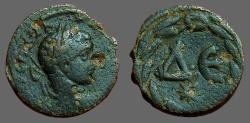 Ancient Coins - Elagabalus AE18 Antioch, ΔΕ within wreath.