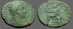 Ancient Coins - Commodus AE24 Dupondius.  Roma seated left on war trophies