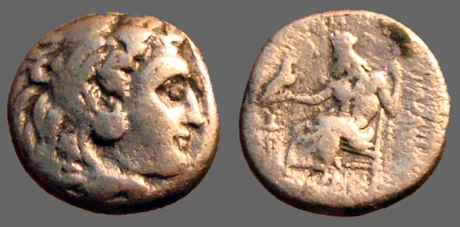 Ancient Coins - Alexander III AR Drachm.  Herakles in lion skin / Zeus seated left