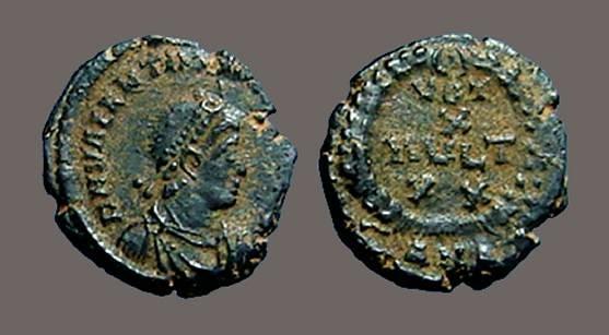 Ancient Coins - Valentinian II AE4 VOT/X/MVLT/XX. Alexandria