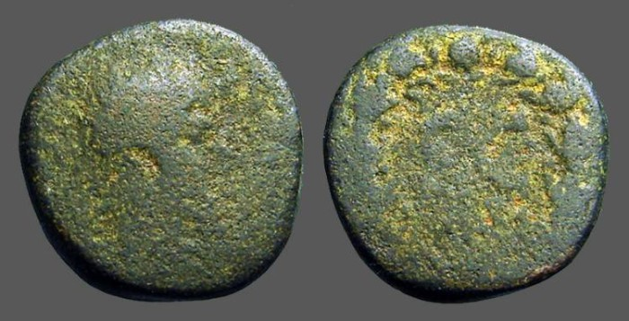 Ancient Coins - Commodus AE22 SC within laurel wreath.  Antioch on Orontes