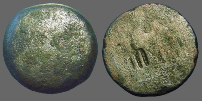Ancient Coins - Ptolemy II AE26 Zeus Ammon / Eagle left, wings open.  Trident countermark
