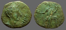 Spain, Irippo. AE25 Male hd rt. Octavian / Woman seated w. pine cone & cornucopia