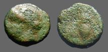 Ancient Coins - Troas, Gentinos AE11 Head of Apollo left / Bee in wreath.