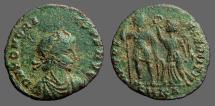 Ancient Coins - Honorius AE3 Victory holds wreath over Honorius.