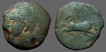 Ancient Coins - Numidia. Micipsa AE26 Hd of Masinissa left. Rearing horse left.