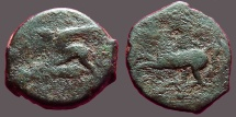 Ancient Coins - Sicily, Alaisa AE24 Griffin leaping left / Bridled horse galloping left.
