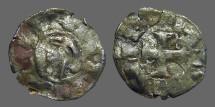 Ancient Coins - Alfonso I 17mm billon denaro. bust left / Cross w. stars.