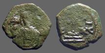 Ancient Coins - Manuel I AE  1/2 Tetarteron Cross on steps