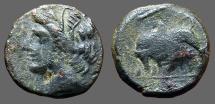 Ancient Coins - Sicily Syracuse AE17  Hieron II.  Persephone / Bull butting